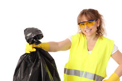Woman in her 40s wearing a gloves and safety glasses Royalty Free Stock Photo