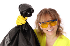 Woman in her 40s wearing a gloves and safety glasses Royalty Free Stock Images