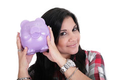 Woman with her savings Royalty Free Stock Image