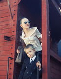 Woman with her son in the retro train Royalty Free Stock Images