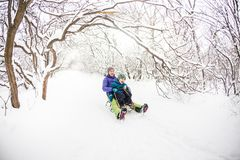 A woman with her son rides down the hill in a sleigh stock photo