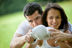 Woman and her sports trainer Stock Photography