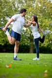 Woman and her sports trainer Stock Images
