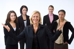 Woman and her team royalty free stock photos