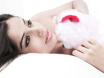 Woman with her teddy bear Royalty Free Stock Photography