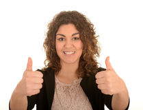 Woman with her thumbs up Royalty Free Stock Photography