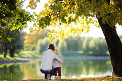 Woman and her toddler son in park Stock Image