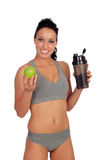 Woman after her training, drinking protein shake Royalty Free Stock Images