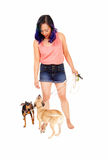 Woman with her two dog's. Royalty Free Stock Images