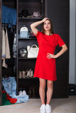 Woman and her wardrobe. Pretty young woman choosing clothing from the wardrobe stock photography