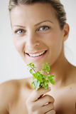 Woman with herb royalty free stock images