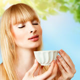 Woman with herbal tea Royalty Free Stock Photo