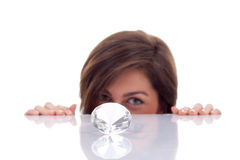 Woman hidding behind the diamond Royalty Free Stock Photography