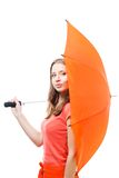 Woman hide behind umbrella Royalty Free Stock Photography