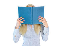 Woman hide with book Stock Images