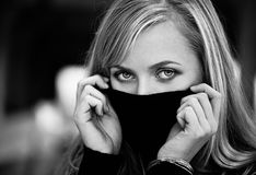 Woman hide face. Blond woman hide her face Royalty Free Stock Photography