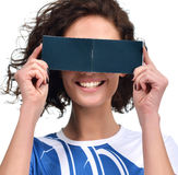 Woman hide her eyes blank paper small book with blank text space Stock Photos