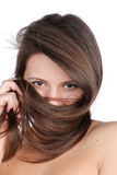 Woman Hide her face in hair Stock Image