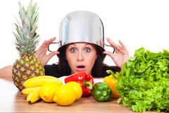 Woman hide out in the kitchen Royalty Free Stock Images