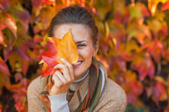 Woman hiding behind autumn leafs. Portrait of happy young woman hiding behind autumn leafs in front of foliage Stock Photography