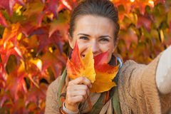 Woman hiding behind leaf while making selfie. Happy young woman hiding behind leaf while making selfie in front of autumn foliage Stock Photography