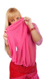 Woman hiding behind shawl Royalty Free Stock Photography