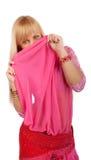Woman hiding behind shawl Royalty Free Stock Photography