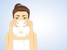Woman hiding face backside facial sheet mask. Beautiful woman holding facial sheet mask hide half face. beauty concept royalty free illustration