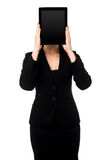 Woman hiding her face with tablet pc Stock Images