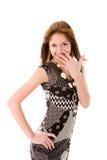 Woman hiding laugh Royalty Free Stock Image
