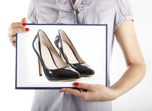 Woman with high heel shoes Stock Images
