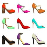 Woman High Heel Shoes Set. Fahionable Colorful Shoes in Cartoon Style. Vector Illustration of Different Types of Shoes Stock Photo