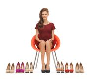 Woman with high heeled shoes Stock Image