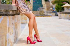 Woman in high heels. Woman`s legs in high heels stock photography
