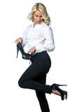 Woman with high heels shoes Stock Image