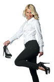 Woman with high heels shoes Stock Images