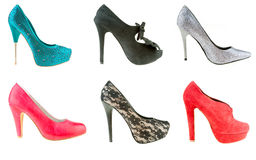 Woman high heels shoes. Collection of woman high heels shoes Royalty Free Stock Image