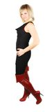 Woman in high red boots. Stock Images