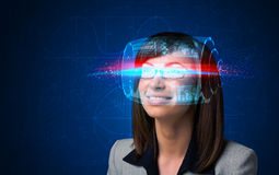 Woman with high tech smart glasses Royalty Free Stock Photo