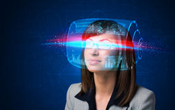 Woman with high tech smart glasses Royalty Free Stock Images