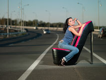 Woman on highway Stock Images