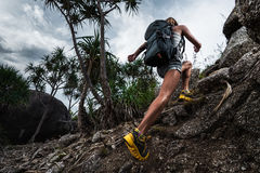 Woman hiker with backpack Stock Photo