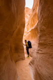 Woman Hiker with backpack enjoy view in desert Royalty Free Stock Photography