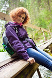 Woman hiker with backpack Stock Photography