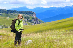 Woman Hiker with Backpack standing Outdoor Stock Photo