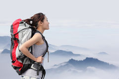 Woman Hiker with backpack Royalty Free Stock Images