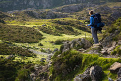 A woman hiker backpacking in the Lake District. Stock Images