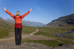 Woman Hiker In The Berufjordur Valley Iceland Royalty Free Stock Photography