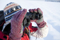 Woman hiker with binoculars Stock Photography