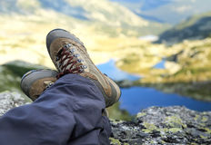 Woman Hiker Boots Resting on Mountain Peak Royalty Free Stock Image